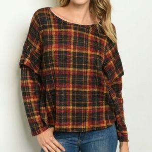 Tops - Warm Tones Wave Plaid Top Shirt